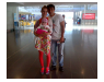 Marcos with his family at Larnaca Airport